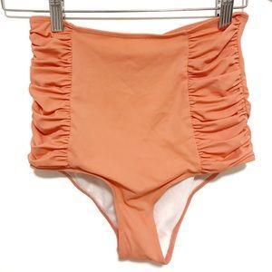 Kortni jeane ruched sides high rise swim bottoms